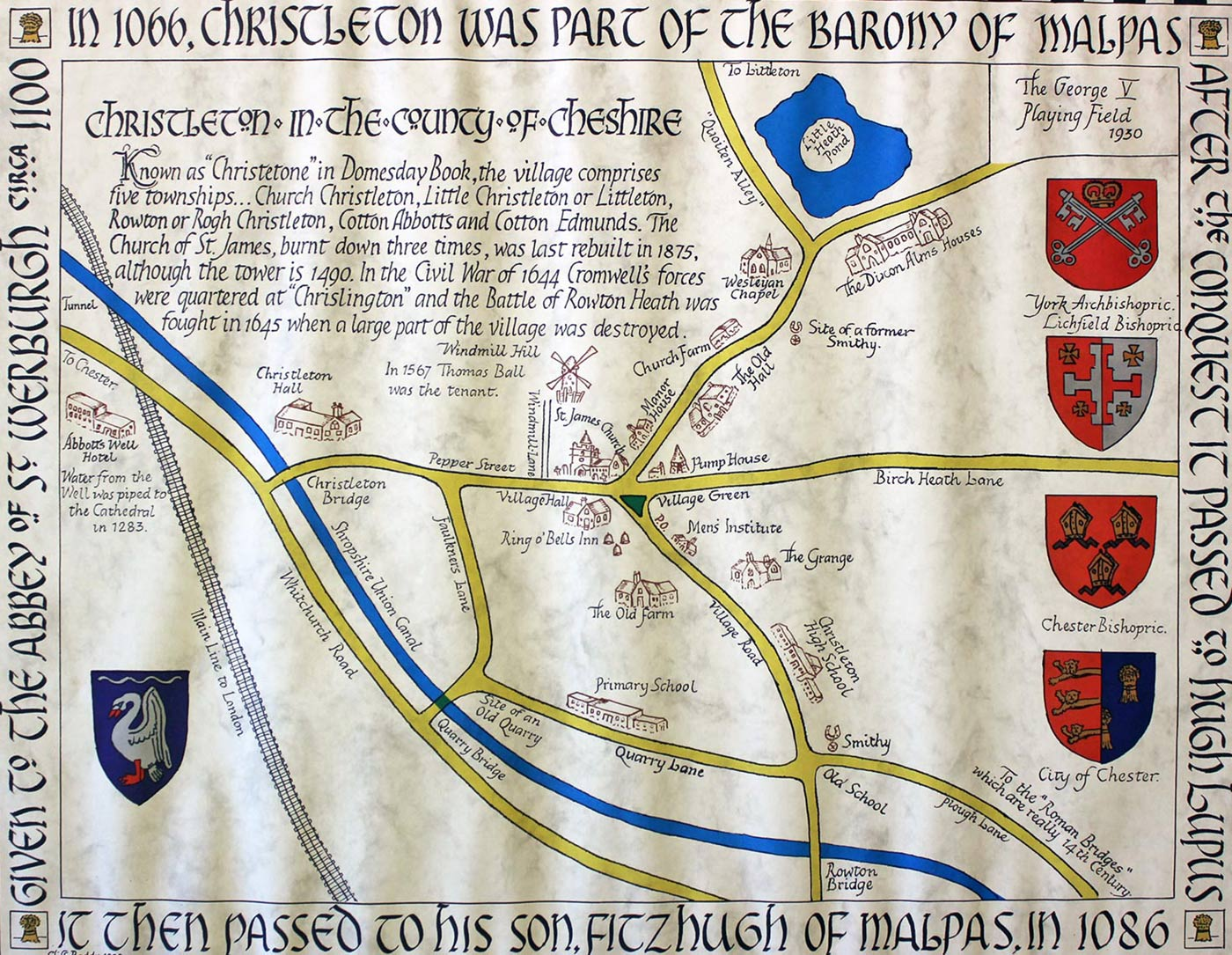 Map of Christleton in 1066
